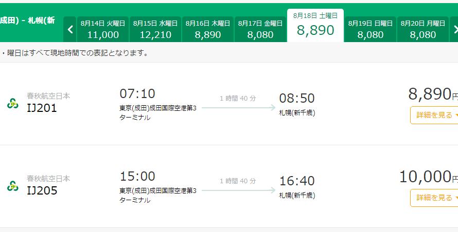 まだ間に合う!春秋航空で8月に飛行機を使って1万円以下で北海道へ行こう